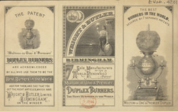 Advert for Wright & Butler's duplex burners